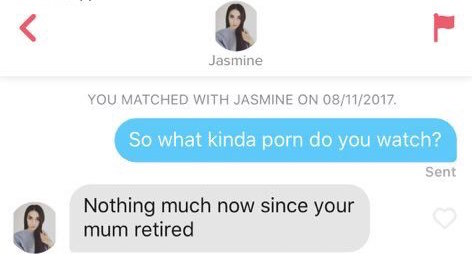 Funny clapbacks to sexual pick-up lines on Tinder