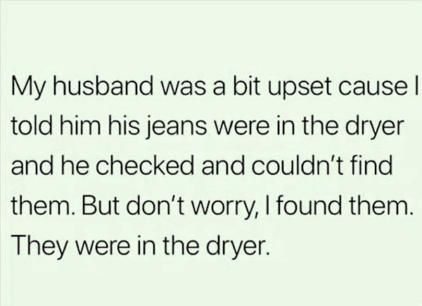 jeans in dryer married memes